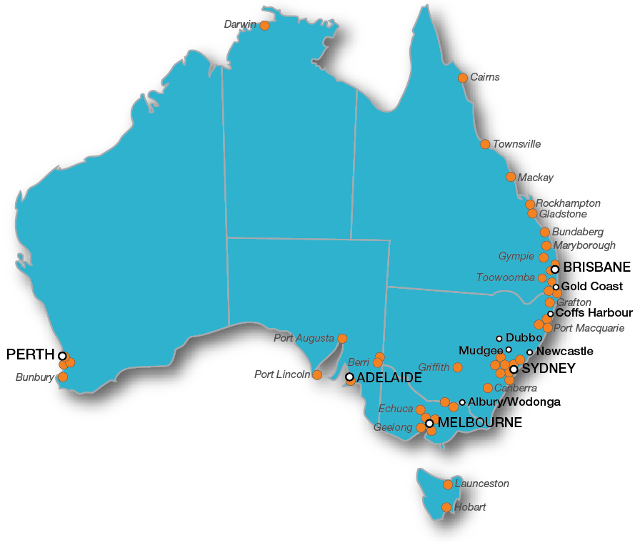 Australian delivery locations | LMA