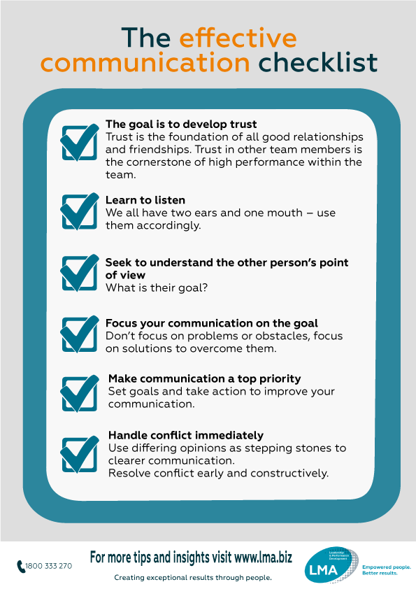 The effective communication checklist | LMA