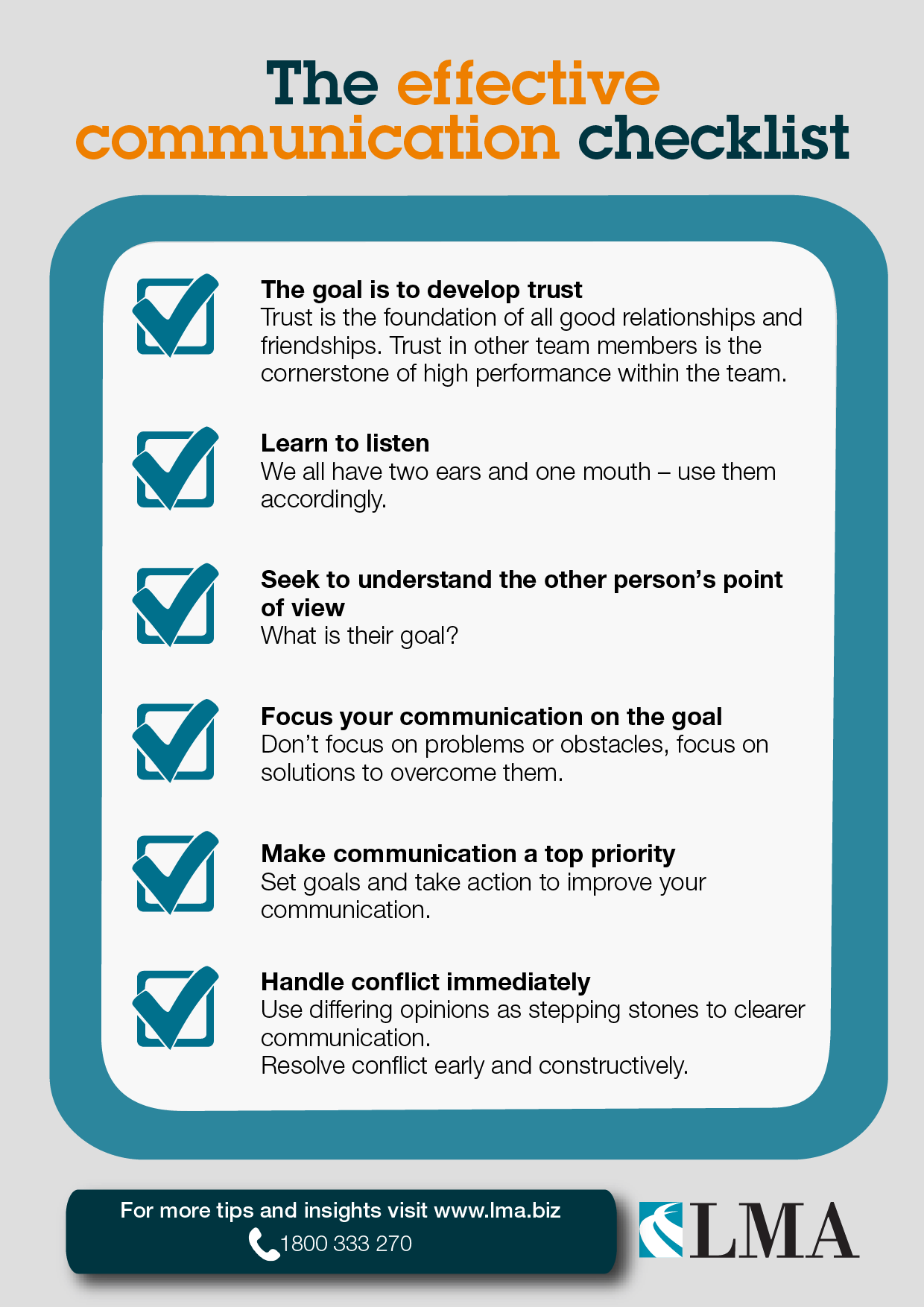 The effective communication checklist